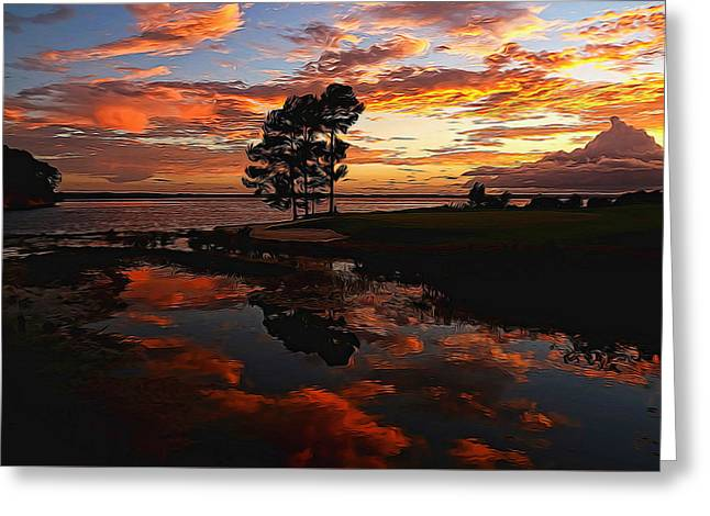 Sunset Reflection Painted Greeting Card by Judy Vincent