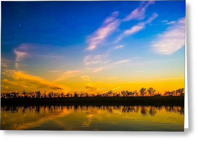 Dusk By The Lake Greeting Cards - Sunset Reflection Greeting Card by Warren Creech