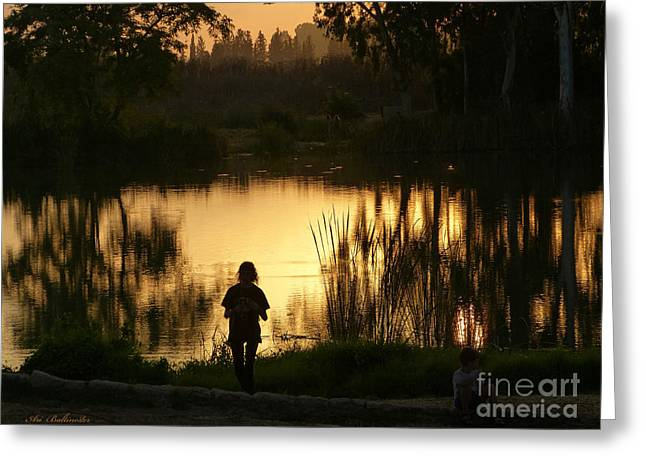 Sunset Prints Greeting Cards - Sunset reflections Greeting Card by Arik Baltinester