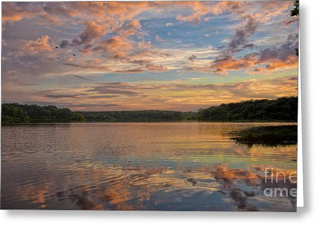 Reflecting Water Greeting Cards - Sunset Reflections Greeting Card by Jemmy Archer