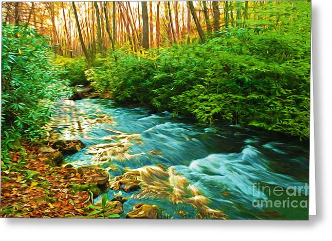 Reflections Of Sun In Water Greeting Cards - Sunset Reflections on Stream in Autumn Greeting Card by Laura D Young