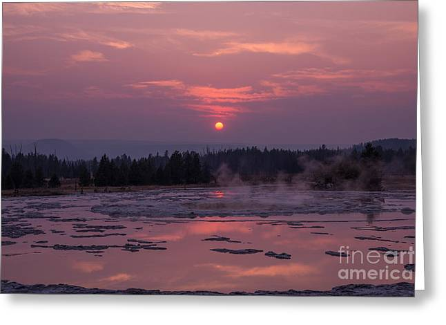 Sunset Reflections On The Great Fountain Geyser Greeting Card by Michael Ver Sprill