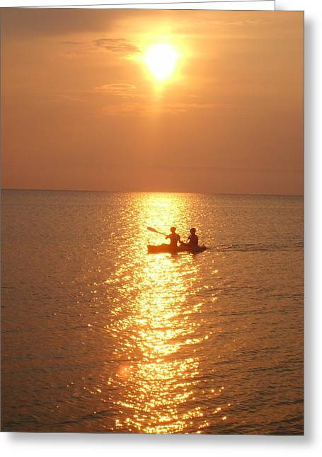 Canoe Photographs Greeting Cards - Sunset Ride Greeting Card by Gayle Deel