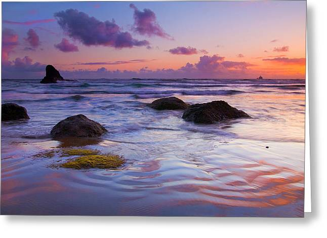 Tillamook Lighthouse Greeting Cards - Sunset Ripples Greeting Card by Mike  Dawson