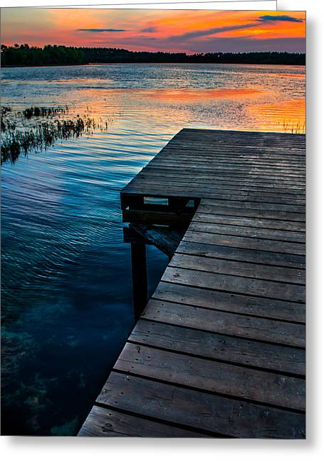 Wooden Dock Greeting Cards - Sunset Ripples Greeting Card by Shelby  Young