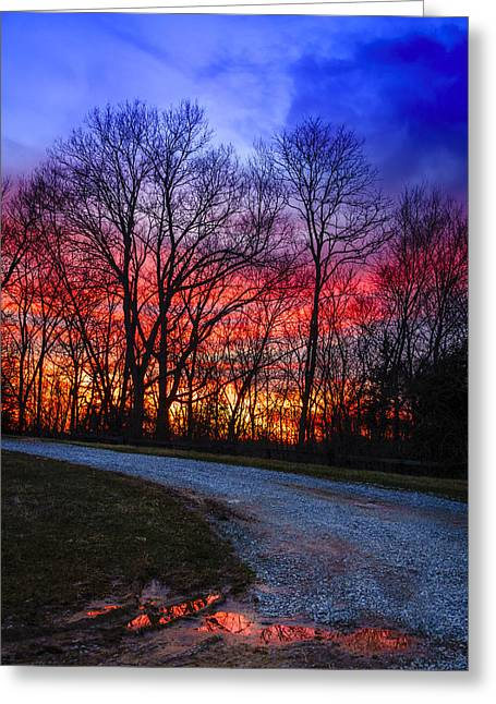 Mud Season Greeting Cards - Sunset road Greeting Card by Alexey Stiop