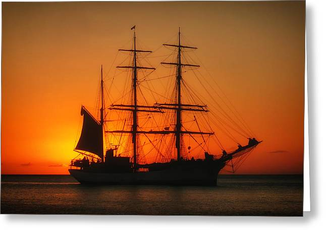 Tall Ships Greeting Cards - Sunset Sail Greeting Card by Agnes Ti