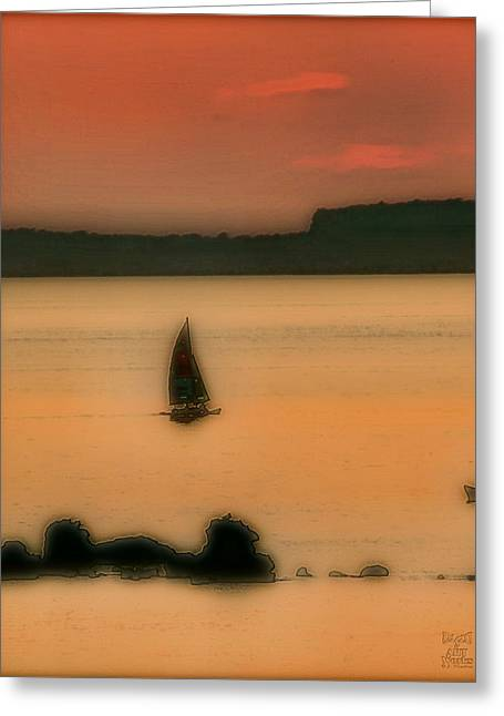 Ebsq Greeting Cards - Sunset Sail Greeting Card by Dee Flouton