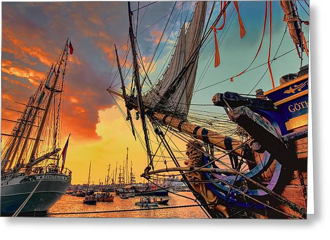 Tall Ships On Water Greeting Cards - Sunset Sail Greeting Card by Nadia Sanowar