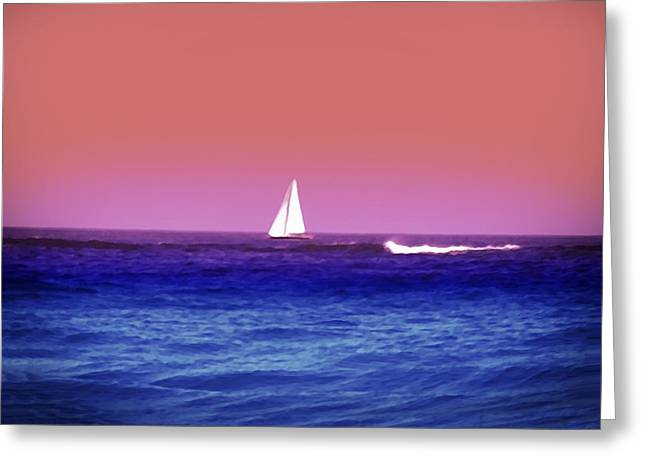 Sailboat Ocean Digital Greeting Cards - Sunset Sailboat Greeting Card by Bill Cannon