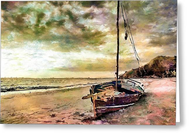 Sailboat Images Greeting Cards - Sunset Sailboat Landscape Artwork Painting Greeting Card by Andres Ramos