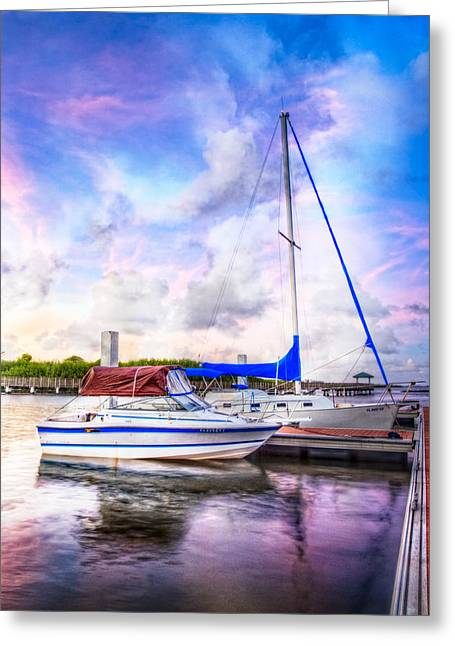 Sailboats In Harbor Greeting Cards - Sunset Sailboats Greeting Card by Debra and Dave Vanderlaan