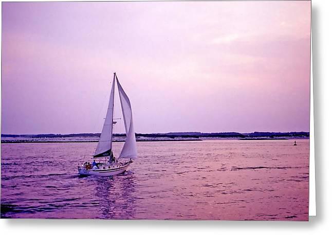 Sunset sailing Greeting Card by Bill Jonscher