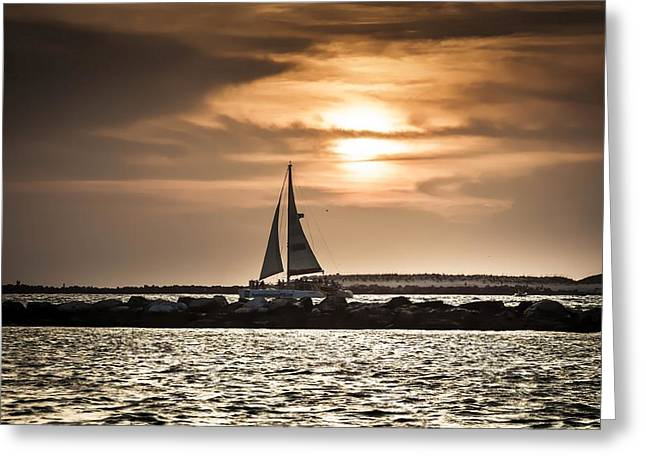 Water Vessels Greeting Cards - Sunset Sailing  Greeting Card by Debra Forand