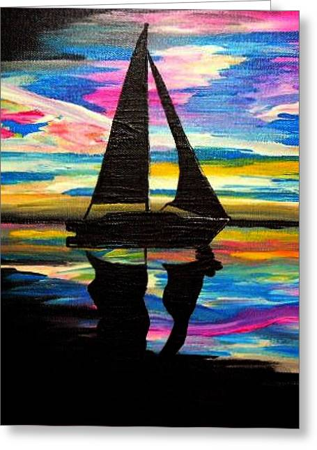 Sunset Framed Prints Greeting Cards - Sunset Sailing Greeting Card by Una  Miller