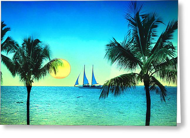 Sailboat Ocean Digital Art Greeting Cards - Sunset Sailor Greeting Card by Bill Cannon