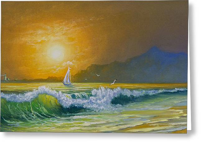 Bob Ross Paintings Greeting Cards - Sunset Sails Greeting Card by C Steele