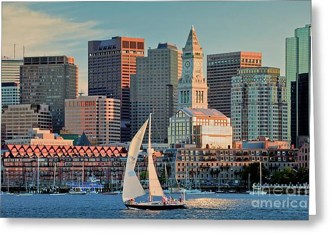 New England Ocean Greeting Cards - Sunset Sails on Boston Harbor Greeting Card by Susan Cole Kelly