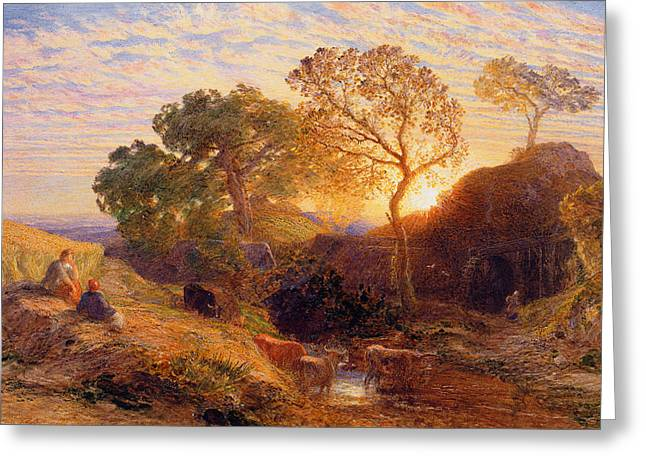 Samuel (1805-81) Greeting Cards - Sunset Greeting Card by Samuel Palmer