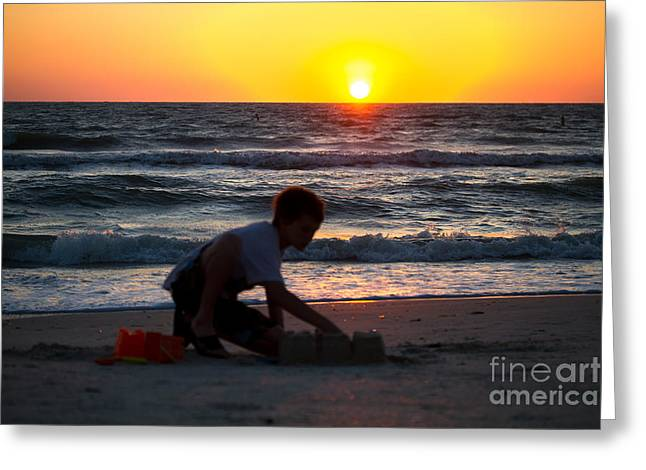 Sand Castles Greeting Cards - Sunset Sand Castle Greeting Card by Darrell Hutto