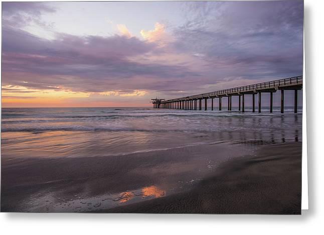 Sunset  Scripps Beach Pier La Jolla Ca Img 1 Greeting Card by Bruce Pritchett