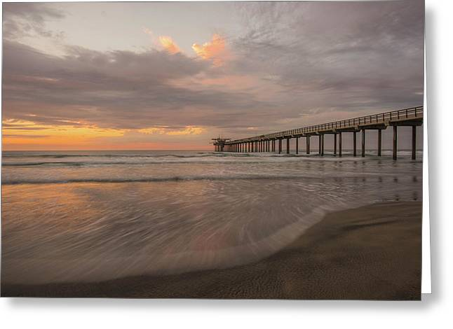 Sunset Scripps Beach Pier La Jolla San Diego Ca Image 4  Greeting Card by Bruce Pritchett