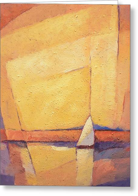 Yellow Sailboats Greeting Cards - Sunset Sea Greeting Card by Lutz Baar