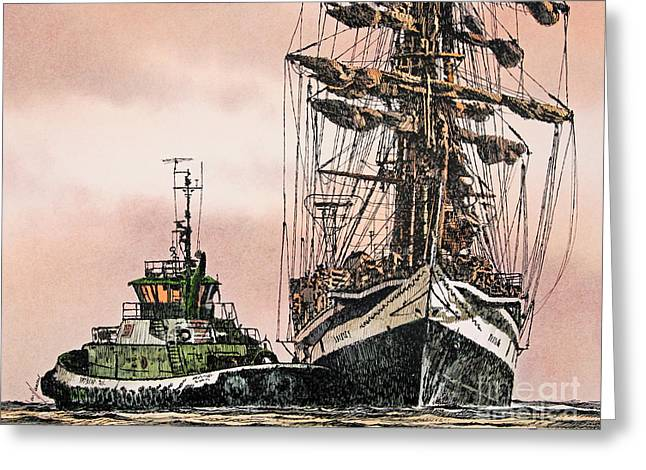 Pen And Ink Framed Prints Greeting Cards - Sunset Ship Assist Greeting Card by James Williamson