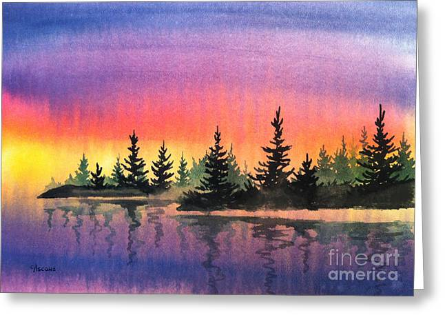 Sienna Greeting Cards - Sunset Shoreline Greeting Card by Teresa Ascone