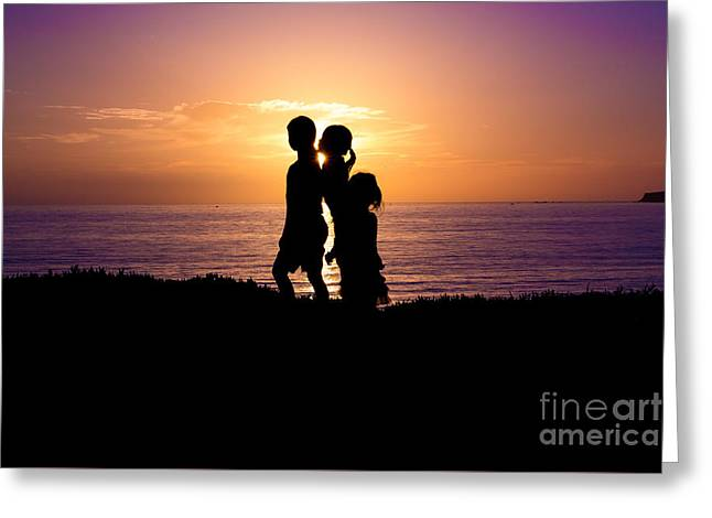 Half Moon Bay Greeting Cards - Sunset Silhouettes Greeting Card by Suzanne Luft
