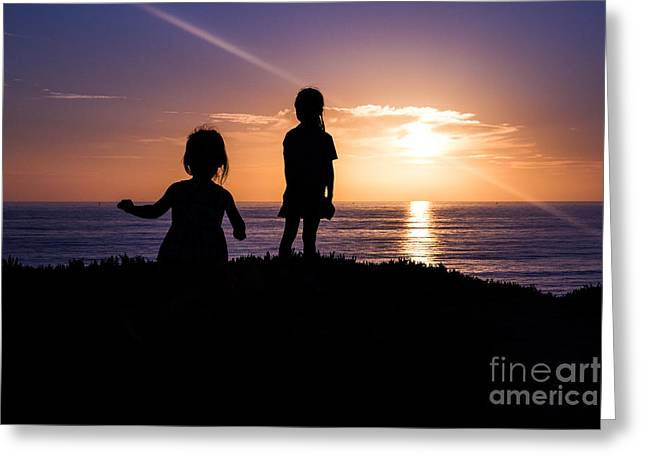 Moon Beach Greeting Cards - Sunset Sisters Greeting Card by Suzanne Luft