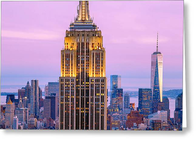 New York City Greeting Cards - Sunset Skyscrapers Greeting Card by Az Jackson