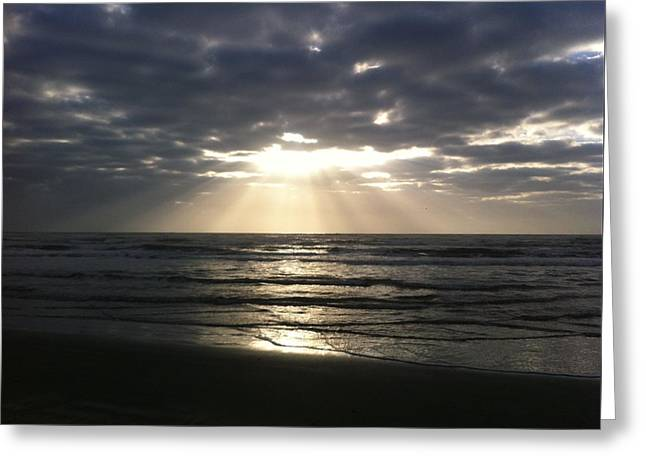 Ocean Shore Greeting Cards - Sunrise Spotlight  Greeting Card by Christy Pooschke