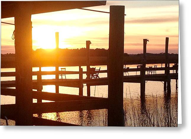 James Pyrography Greeting Cards - Sunset St James Island Greeting Card by Mary Caruso