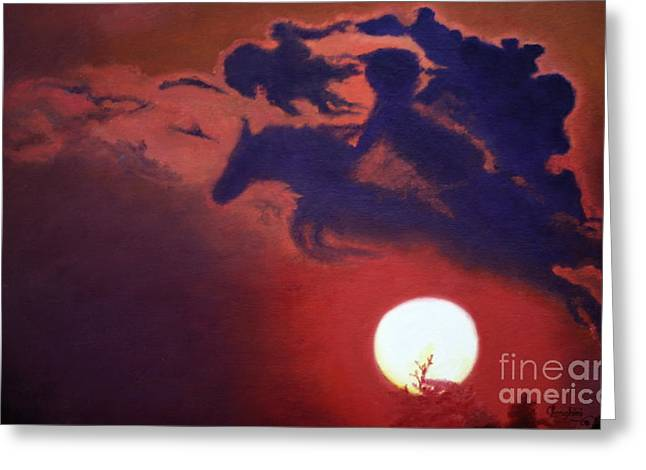 Sunset Steeplechase Greeting Card by Cindy Lee Longhini