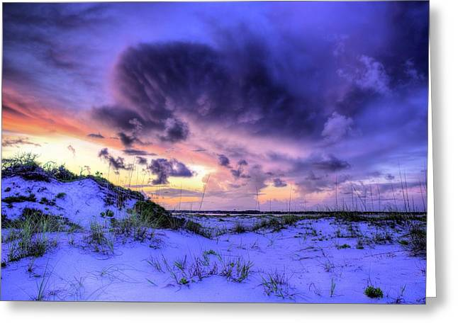 Sunset Storms Over Pensacola Beach Greeting Card by JC Findley