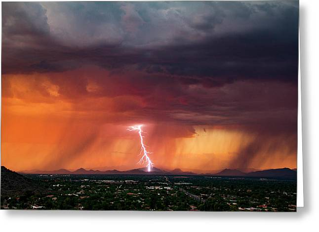 Arizona Lightning Greeting Cards - Sunset Strike Point Greeting Card by Cathy Franklin