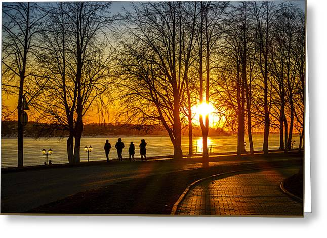 Sunset Stroll Greeting Card by Alexey Stiop