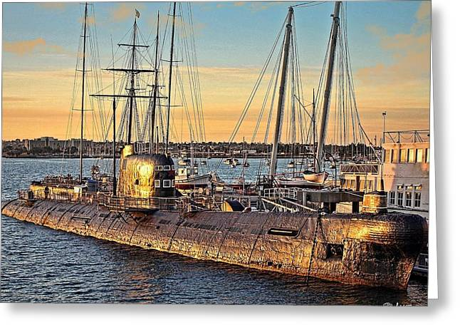 Boats At Dock Greeting Cards - Sunset Submarine Greeting Card by Jake Steele