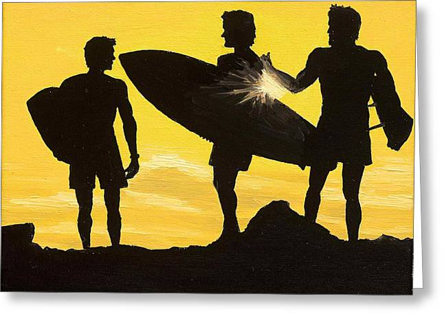 Santa Cruz Surfing Paintings Greeting Cards - Sunset Surf Greeting Card by Andrew Palmer