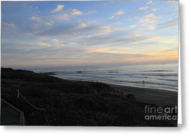 Beach Cottage Greeting Cards - Sunset Surf Greeting Card by Linda Woods