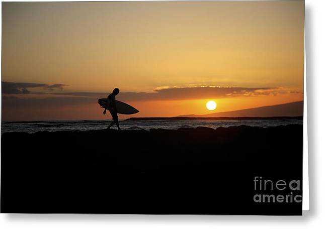 Surfing Art Greeting Cards - Sunset Surfer Greeting Card by Brandon Tabiolo - Printscapes