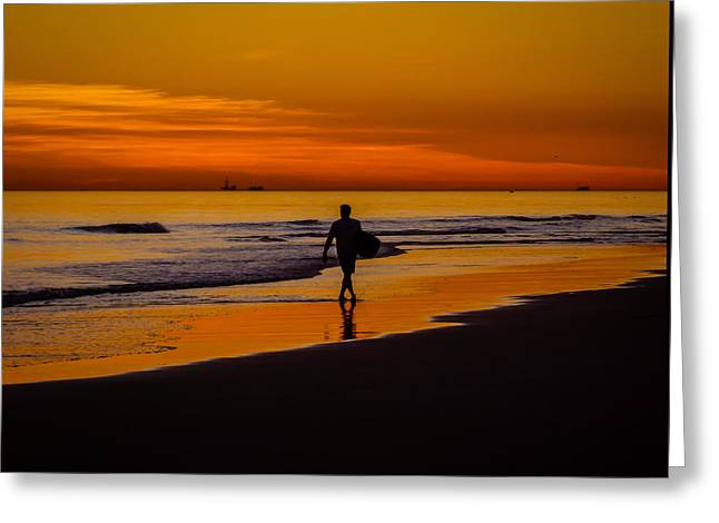 Ocean. Reflection Greeting Cards - Sunset Surfer Greeting Card by Pamela Newcomb