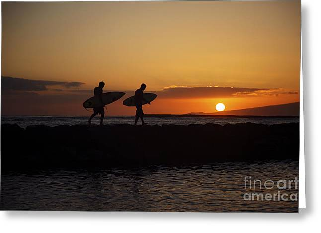 Surfing Art Greeting Cards - Sunset Surfers Greeting Card by Brandon Tabiolo - Printscapes