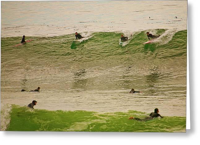 Santa Cruz Ca Greeting Cards - Sunset Surfing Greeting Card by Liz Santie