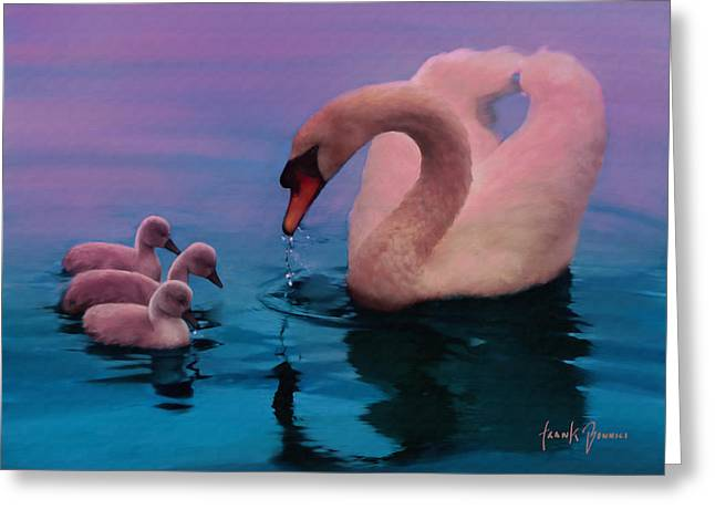Sunset Swan Greeting Card by Frank Bonnici