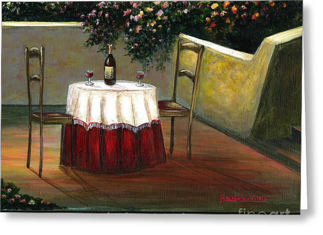 Sunset Table Greeting Card by ITALIAN ART