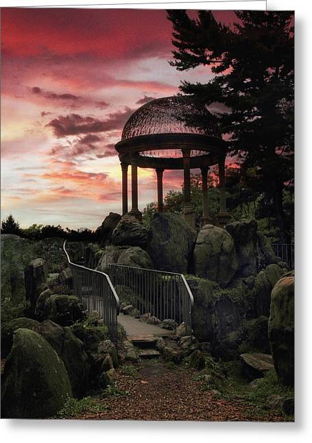 Sunset Temple Greeting Card by Jessica Jenney