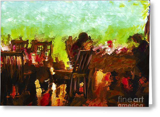 Grove Park Inn Mixed Media Greeting Cards - Sunset Terrace Intimacy Greeting Card by Marilyn Sholin