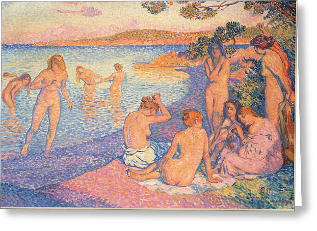 Nude Sunset Greeting Cards - Sunset Greeting Card by Theo Van Rysselberghe